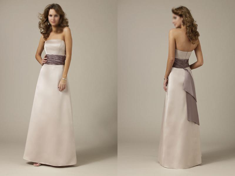 Simple Design Square Neck A Line Gown Bridesmaid Dress
