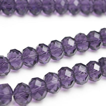 30pcs belle violet à facettes 1cm cristal verre perles en vrac, artisanat perlé bracelet ou collier