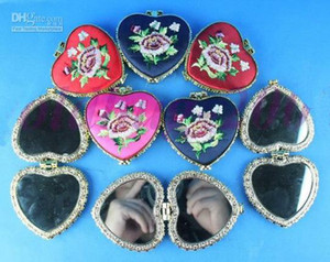 Wholesale Heart Shaped Compact Mirror Favors Silk Embroidered double side mix color Free