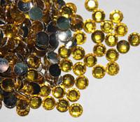 ingrosso strass giallo acrilico-Gemme di strass acrilici a fondo piatto in oro giallo 2000pcs 4.8mm