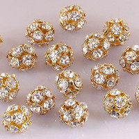 Wholesale Clear Crystal Beads 8mm - 100PCS-8MM Clear Crystal Rhinestone Round Ball Spacer Beads, Copper Gold Plated, Jewelry Findings