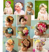 Wholesale Headband Hair Flowers Top Baby - Top Baby crochet flower hair bow clips & headband barrette caps baby headdress hoody flower hair bow