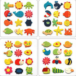 Wholesale Cute Fridge Magnet Toy - 120pcs lot Children's wooden toys educational toys early childhood mental cartoon cute fridge magnet