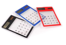 Wholesale Thin Solar Calculator - Wholesale - 50pcs lot-Office Transparent Solar Calculator Touch Screen Ultra-thin Calculator