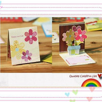 Wholesale Wholesale Green Greeting Cards - 3D mini greeting card birthday card Thank you card Mix design with colorful envelope
