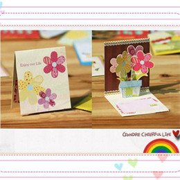 Wholesale Paper Folding Arts - 3D mini greeting card birthday card Thank you card Mix design with colorful envelope