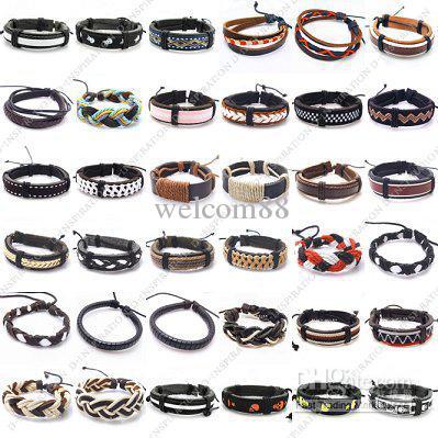 10 unids / lote mezcla estilos brazaletes de cuero ajustable pulseras para DIY Craft regalo de la joyería 7-11 pulgadas LBA1 envío gratis