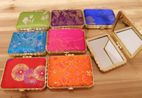 Wholesale Mirror Compact Silk - Portable Square Ladies Pocket Compact Mirror Favor Silk Printed double side Folding Makeup Mirror 50pcs lot mix color Free shipping