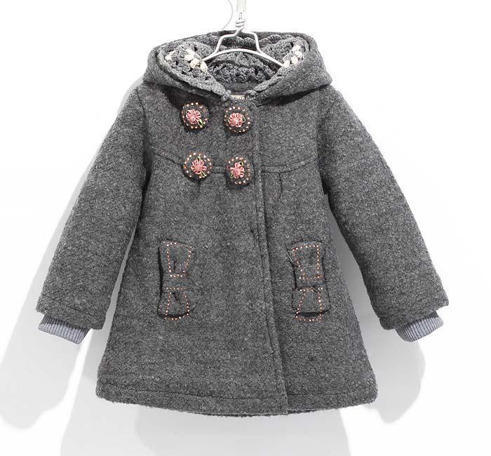 girls coat clothing winter grey warm clothes outwears outfits 90