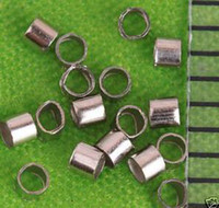 Perline di tubo 2x2mm, Rhodium placcato, Ottone, Tubo a crimpare, Perline fisse, Venduto per 10000 PCS (90G). raccordi
