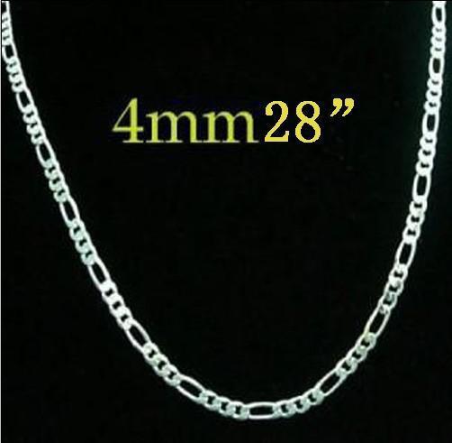 4 мм 28 дюймов / 71 см Новый 925 Серебряный Фигаро цепи ожерелье горячие продажа