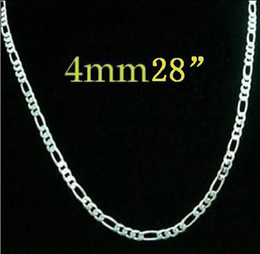 figaro chains 4mm UK - 4MM 28inch 71cm Brand new 925 Silver Figaro chain necklace hot sale