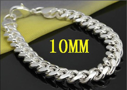 Wholesale Curb Link Charm Bracelets - Fashion jewelry 925 Silver 10MM 8inch curb chain charms bracelets men's bracelets fit free box
