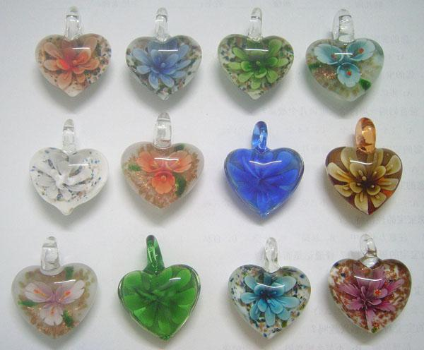 10 adet / grup Renkli Kalp murano Lampwork Cam Kolye Takı Aksesuar Fit DIY Craft Takı PG01 Ücretsiz Kargo