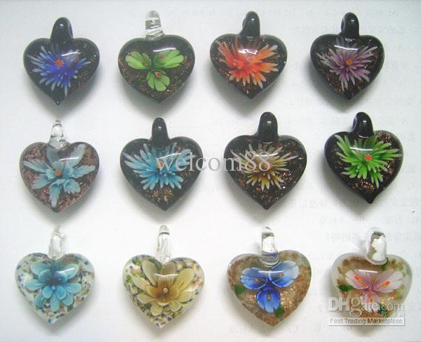 10 sztuk / partia Multicolor Heart Murano Lampwork Szkło Wisiorki Fit DIY Craft Biżuteria Naszyjnik Wisiorek PG0 *