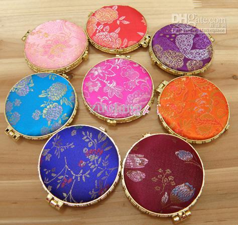 Barato redonda plegable de bolsillo compacto Espejos favor seda portátil de doble cara espejo de maquillaje / color de la mezcla del envío