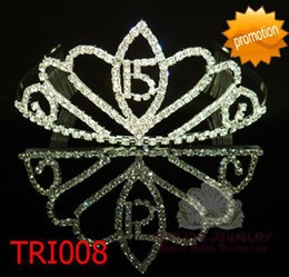 Wholesale Tiaras For 15 - Rhinestone quinceanera tiara for 15 years old girl adult crown tiara 60pcs lot Free Shipping