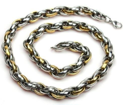Mode smycken gåvor guld silver fransk rep 316l rostfritt stål 11mm kedja halsband, män gåvor.