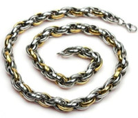 Wholesale Necklace French - fashion jewelry gifts Gold Silver French Rope 316L Stainless steel 11mm chain Necklace,men's gifts.
