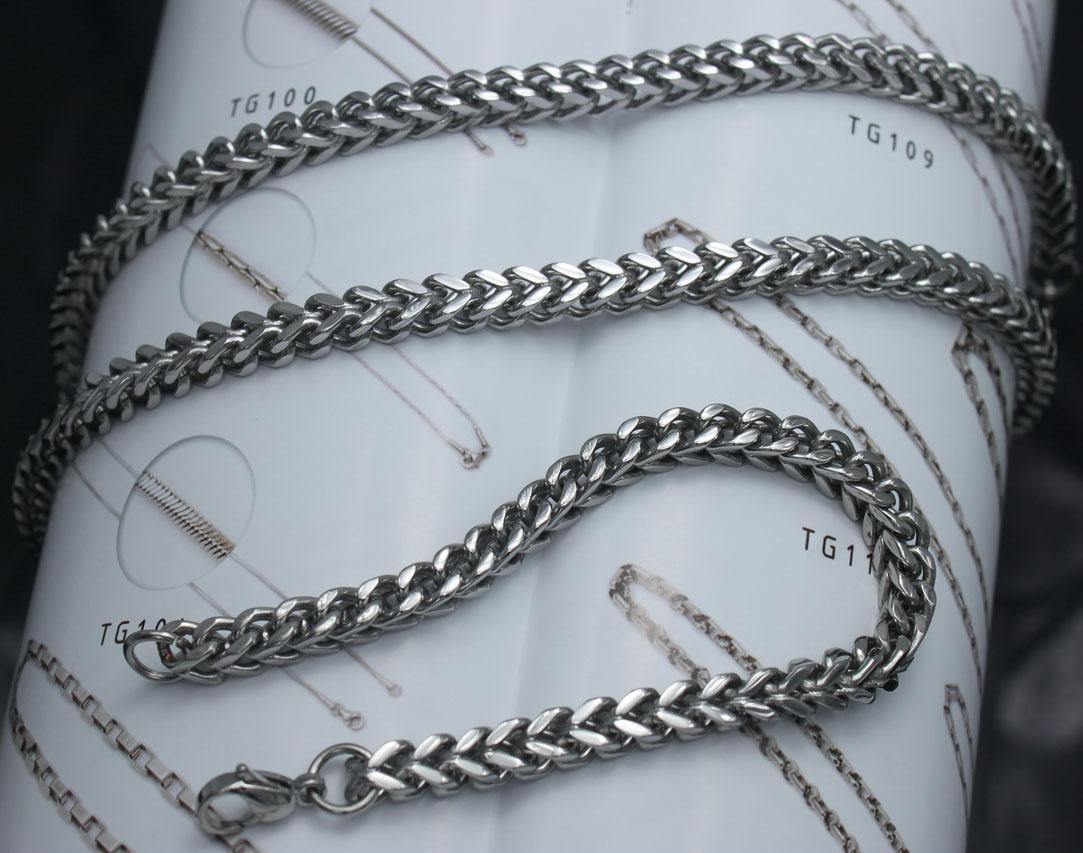 Männer bevorzugen Schmuck-Set, Titan Stahl Silber Handwerk Quadrat Polieren Kette Halskette Armband