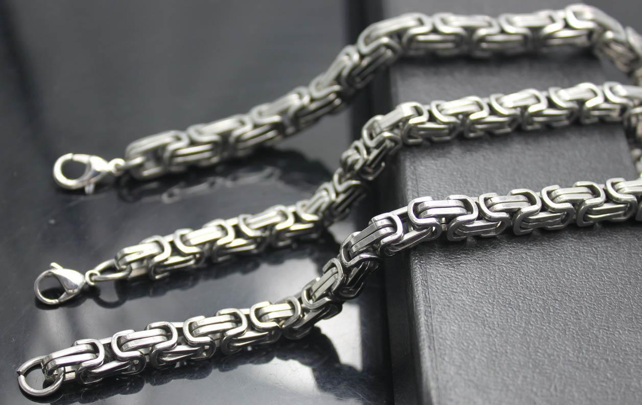 Jeden zestaw uroczych fajnych męskich zestawów jubilerskich, stal tytanowy 8mm / 5mm srebrny srebrny łańcuch naszyjnik bransoletka