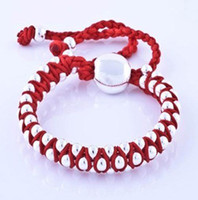 Wholesale Cute Friendship Gifts - Brand new 925 Silver RED Knit Friendship bracelets fit Cute beads charms bracelets Li053