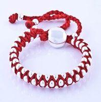 kırmızı örgü bilezikler toptan satış-Yepyeni 925 Gümüş KIRMIZI Örgü Dostluk bilezikler fit Sevimli boncuk charms bilezikler Li053