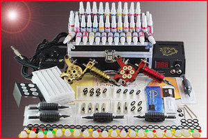 Wholesale 2 Tattoo gun machine ink Pigment Needles Tip Power Starter kit Supply