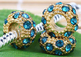 Wholesale Gold Big Hole Spacer Beads - 100PCS-11MM Blue Opal Crystal Spacer Charm Beads Fit Bracelet, Gold Plated Rhinestone Big Hole Beads