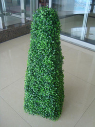 Wholesale Plastic Topiary - 95cm height Artificial plastic topiary pyramid boxwood tree plant free shipping price