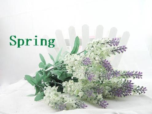 라벤더 꽃다발 시뮬레이션 실크 / 인공 꽃, 라일락 / 다크 퍼플 / 화이트 색상