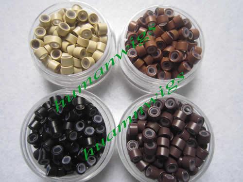 4.5mm silicone micro ring links pour extensions de cheveux en plumes, couleur: noir! mélange de couleur