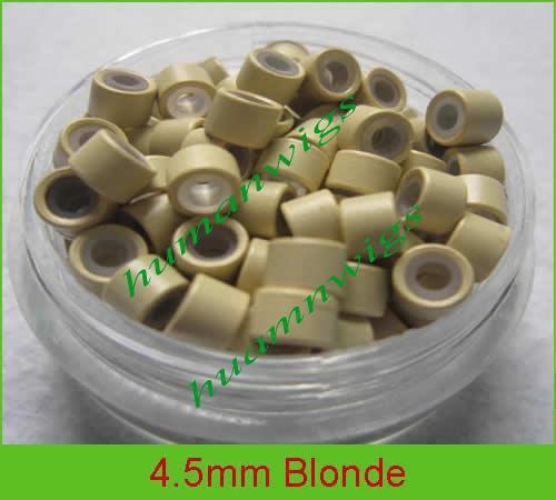 4,5 mm siliconen micro-ringverbindingen voor hair extensions, hair extension tools.BLONDE, MIX-kleur