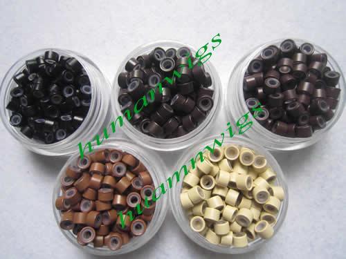 4,5 mm Silikon Micro Ring Länkar för hårförlängningar, hårförlängningsverktyg.Blonde, Mix Color