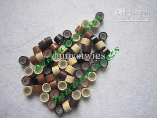 4.5mm Silikonowe mikroryczne łącza do przedłużania włosów, narzędzia do przedłużania włosów. Brown, 5000 sztuk Mix Color