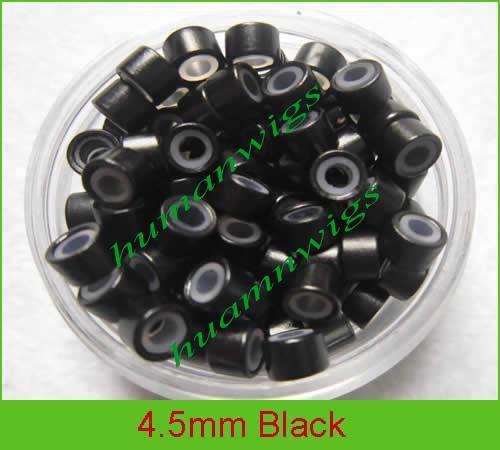 4.5mm silicone micro ring links pour extensions de cheveux en plumes, couleur: noir! 10000pcs, mélange de couleur