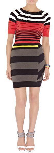 Strip Knit Women Sheath Dress