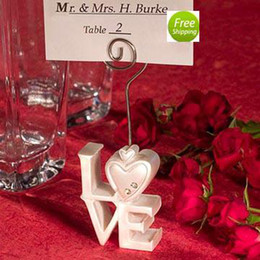 Wholesale White Wedding Place Cards - Free Shipping 20PCS Heart-LOVE Place Card Holder Favors LOVE Card Holder Table Setting Wedding Favors Party Decoration Gifts