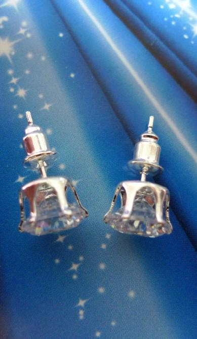 Pendiente de plata plateado Pendiente de plata Pendiente de diamante Moda bisutería 8mm Pendientes STUD ZIRCON