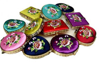 Wholesale Mirror Compact Silk - Personalized Portable Compact Mirrors Party Favors Chinese Silk Embroidery Double Side 50pcs lot mix color Free shipping