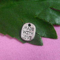 """Wholesale Made Love Charms - DIY jewelry accessories retro silver color words """"made with love""""alloy charms bracelet necklace zipper shoes bags CPA0026 11x4mm 280pcs lot"""