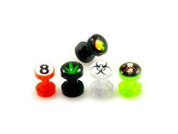 Wholesale 8g Jewelry - Cheap Body Jewelry 8g 6g UV Acrylic Screw-Fit Flesh Tunnel Ear Plug with Multi Logo Gauge Lot