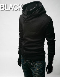 Wholesale Coloured Hoodies - HOT monde Korea back to shool Oblique zipper Men's Hoodie men's Jacket men's Coat 4 colours black plus size mens coats
