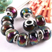 Wholesale Bracelet Murano Rondelle - 14x8mm,Rondelle,Murano Bracelet European Bead,Lampwork Dichroic Glass Bead Dichroic Glass Lampwork