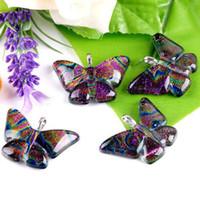 Wholesale Lampwork Dichroic - Dichroic Foil Glass Pendants Dichroic Foil Lampwork Glass Pendants+Clasps Butterfly MIXED colour