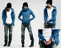 Wholesale Zipper Gloves - monde South Korea Men's Hoodie Rider blue glove men's Jacket men's Coat Cardigan Sweat Shirt 1469
