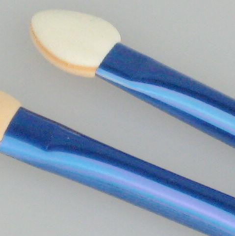 24 세트 / 로트 아이 섀도우 메이크업 브러쉬 스폰지 애플리케이터 도구 - 듀얼 엔드 블루 메탈 핸들 60mm R650