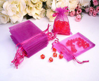 Wholesale Hot Pink Organza Favor Bags - 300 Pcs Hot Pink Organza Bag Gift Pouch Wedding Favor 9X12cm