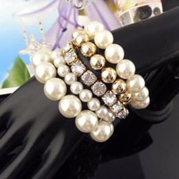 Pearl Bangle Set NZ - Fashion multi-layers pearl beacelet & bangle jewelry for women wide band beads rhinestone cuff bracelet , with pearl set BR-961