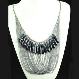 Fascette di gioielli a più strati online-Perle nere eleganti di modo coreano di stile multi collana di catene della lega dei monili di costume del filo con la collana del choker del catenaccio del Labster NL-1301